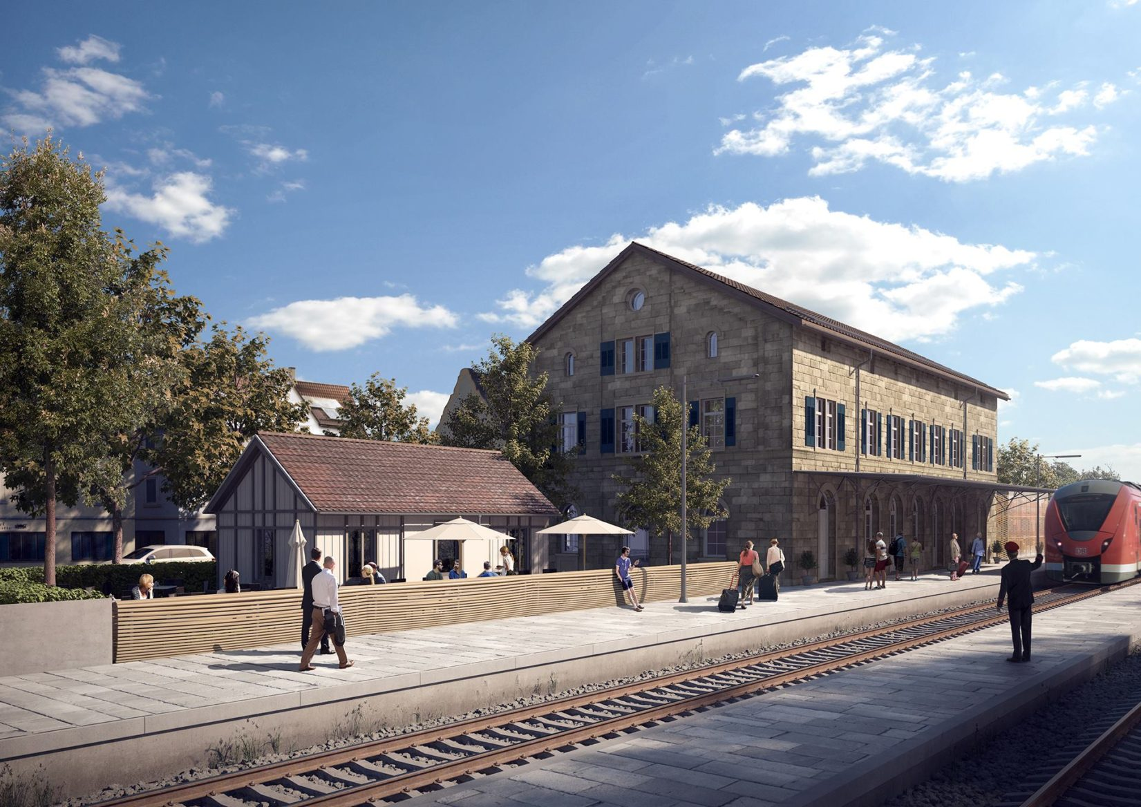 Exterior 3D Visualization of Rottenburg Train Station